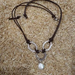 Silpada Coin Pearl/Silver Necklace